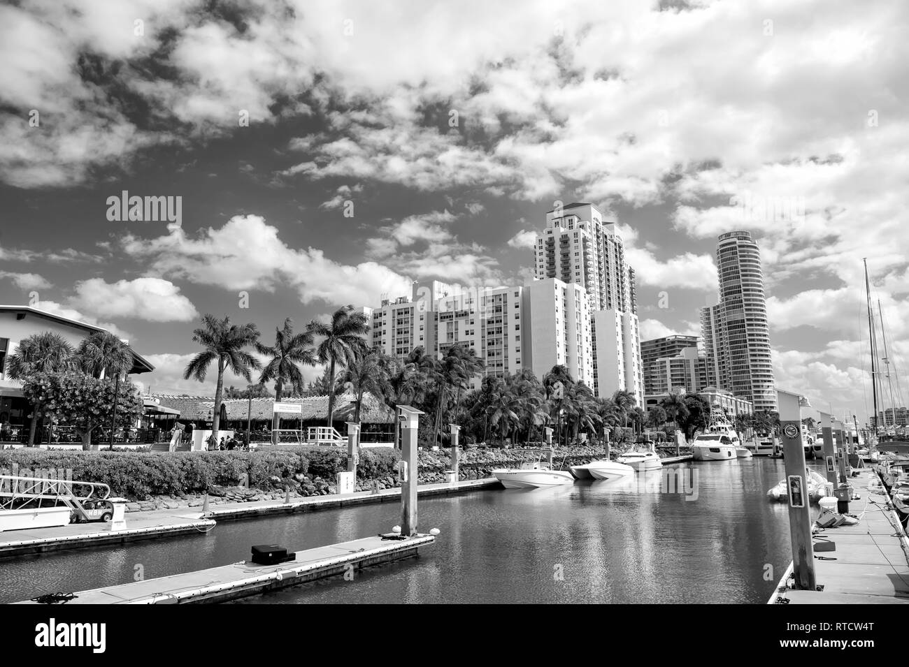 Miami, USA-February 19, 2017 :View of luxurious boats and yacht docked in a Miami South Beach Marina Stock Photo