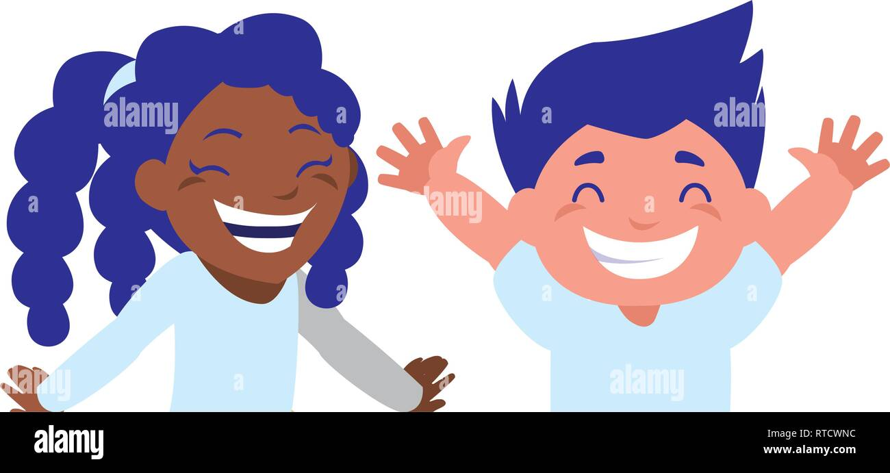 happy kids couple celebrating interracial characters vector