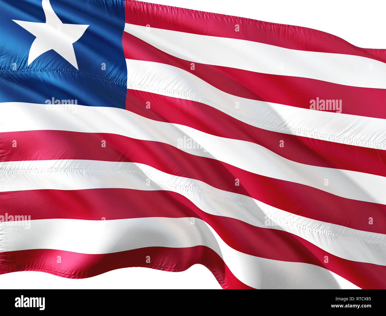 Flag of Liberia waving in the wind, isolated white