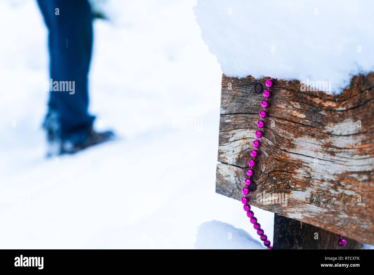 Person's legs in snow and pink bead garland draped over a wooden bench in the forest, depicting Christmas decor, winter time, festivities, and winter. Stock Photo