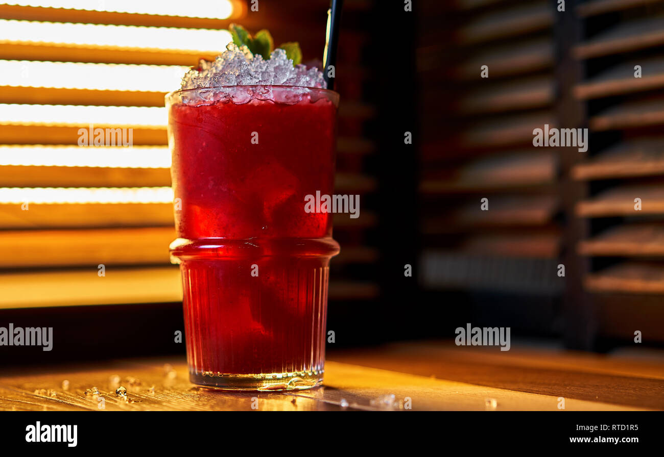 beetroot raspberry cocktail with ice - Stock Image