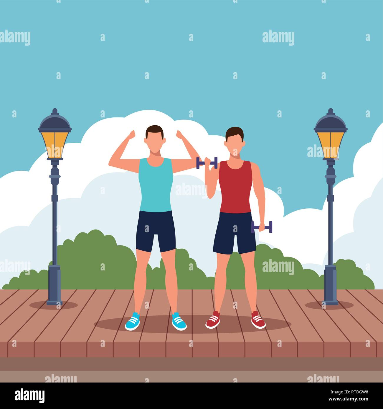 men working out - Stock Vector