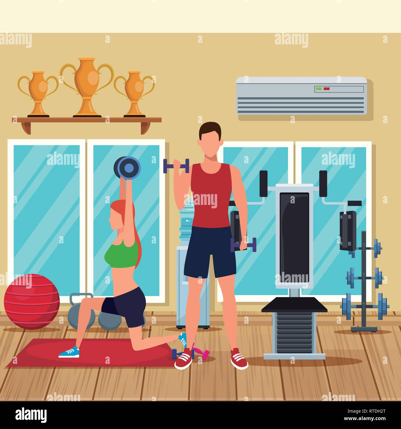 couple working out - Stock Vector