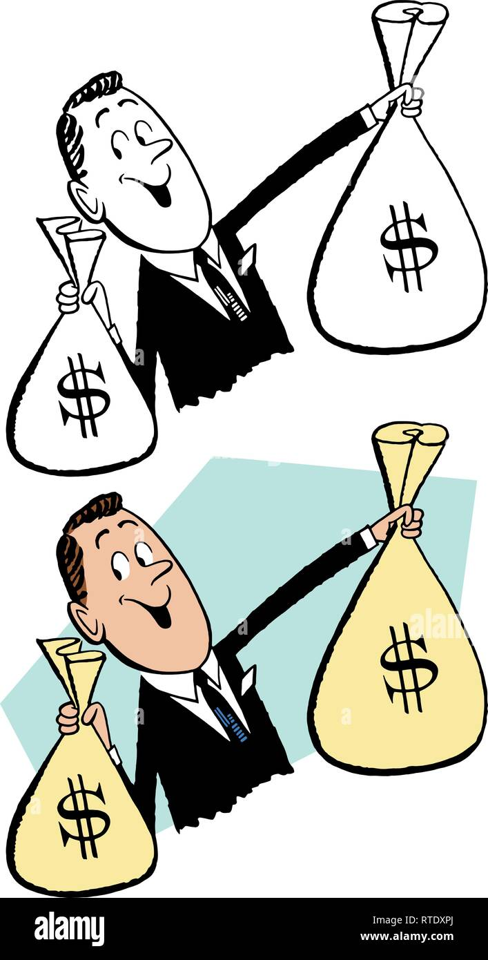 A smiling businessman holding up two large sacks of money. - Stock Vector