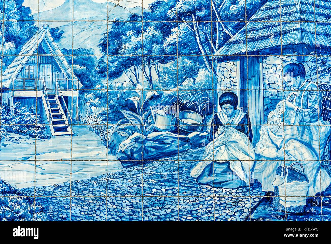 Two women embroidering, historical azulejos, painted ceramic tiles, tiles, funchal, Madeira Island, Portugal - Stock Image