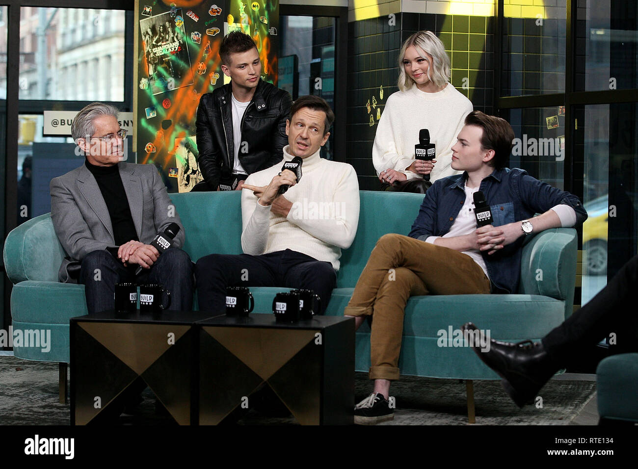New York, USA. 28 Feb, 2019. Kyle McLaughlan, Darren Mann, Keith Behrman, Taylor Hickson and Josh Wiggins at The Thursday, Feb 28, 2019 BUILD Series Inside Candids discussing the new film 'Giant Little Ones' at BUILD Studio in New York, USA. Credit: Steve Mack/S.D. Mack Pictures/Alamy Live News - Stock Image