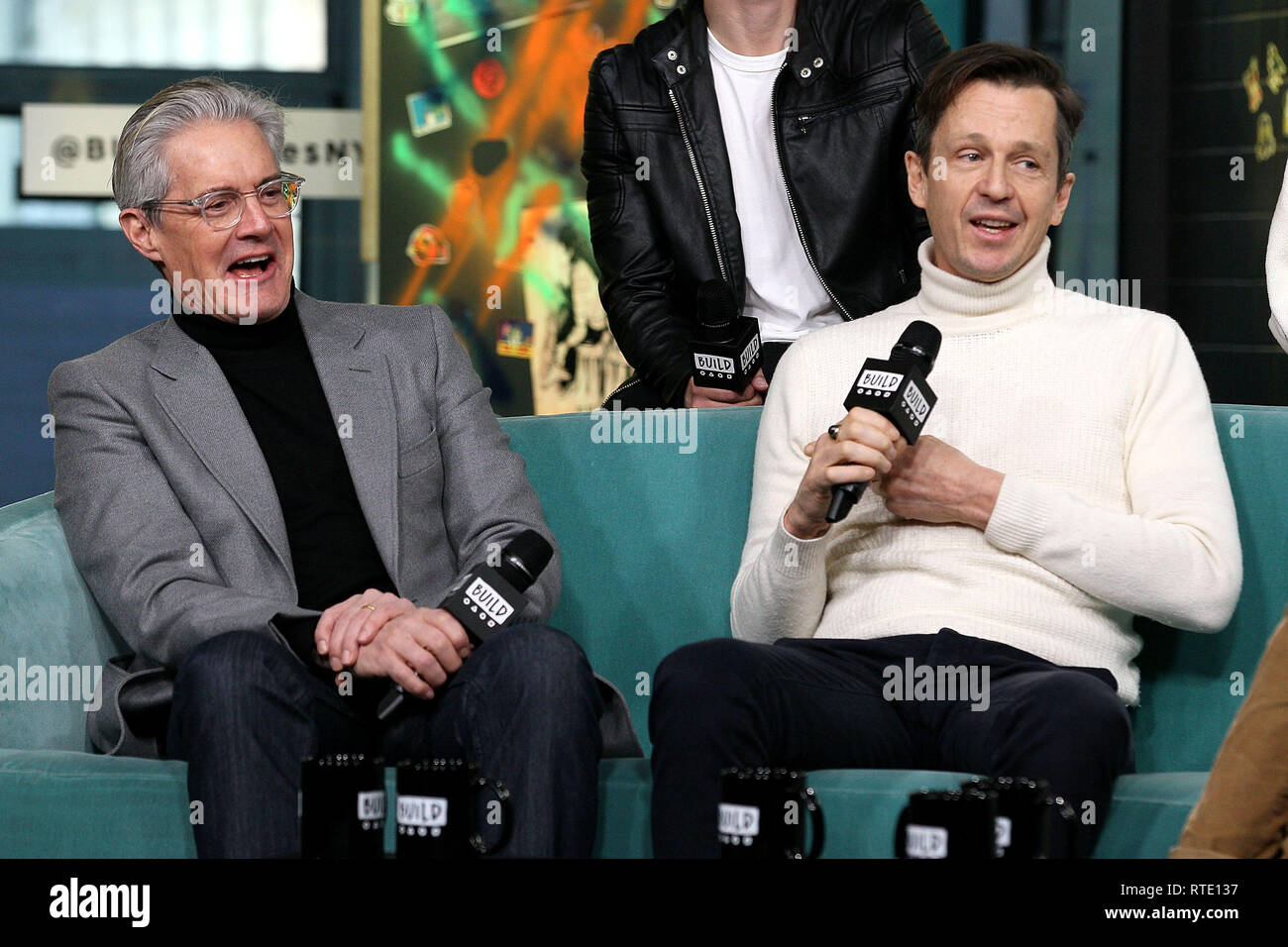 New York, USA. 28 Feb, 2019. Kyle McLaughlan, Keith Behrman at The Thursday, Feb 28, 2019 BUILD Series Inside Candids discussing the new film 'Giant Little Ones' at BUILD Studio in New York, USA. Credit: Steve Mack/S.D. Mack Pictures/Alamy Live News - Stock Image