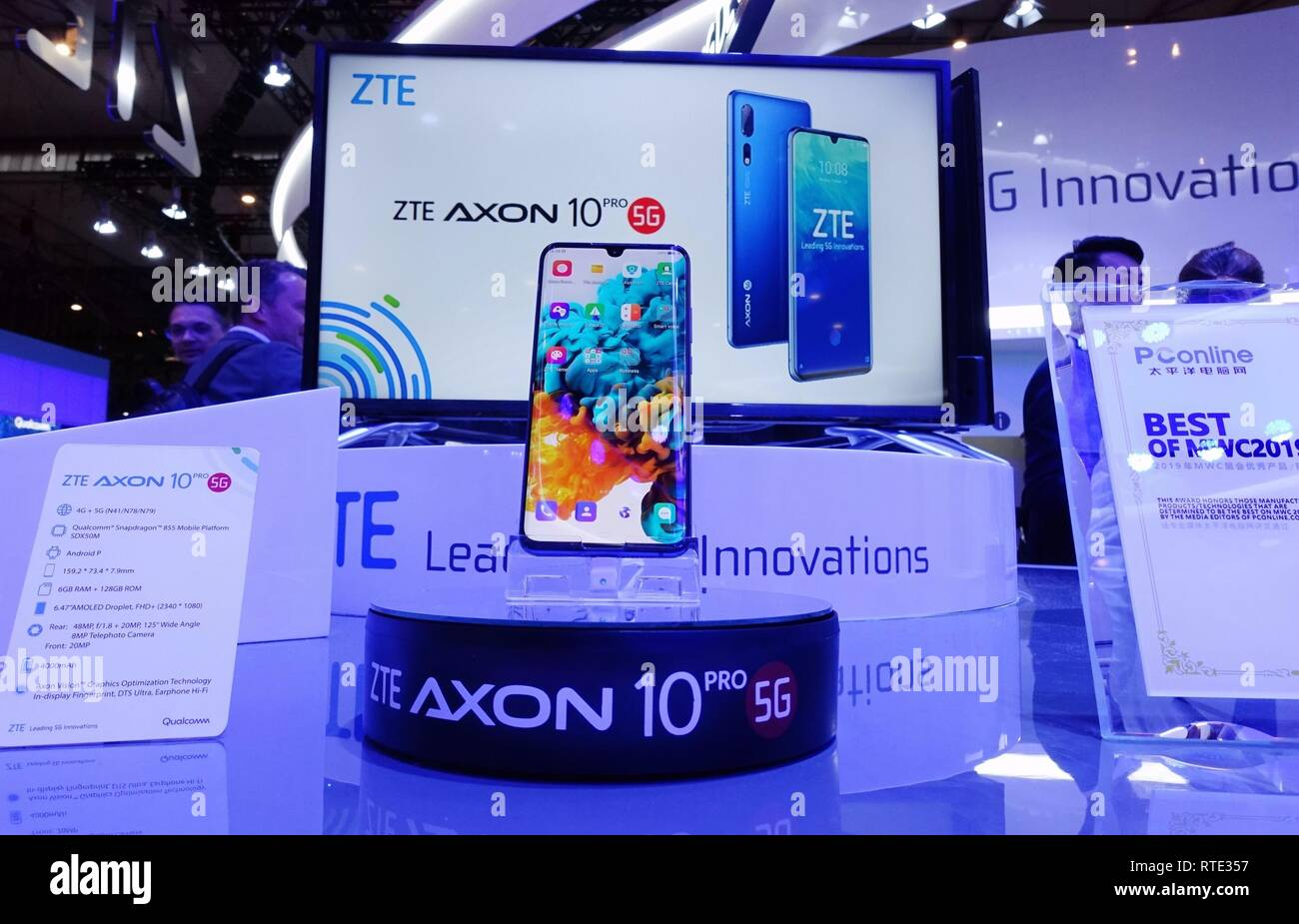Barcelona, Spain. 26th Feb, 2019. China's ZTE presents its Axon 10 Pro 5G cellphone at Mobile World Congress (MWC 2019) in Barcelona, Spain, Feb. 26, 2019. The four-day MWC 2019 presents the newest 5G products of the high-tech giants from around the world. Credit: Guo Qiuda/Xinhua/Alamy Live News Stock Photo