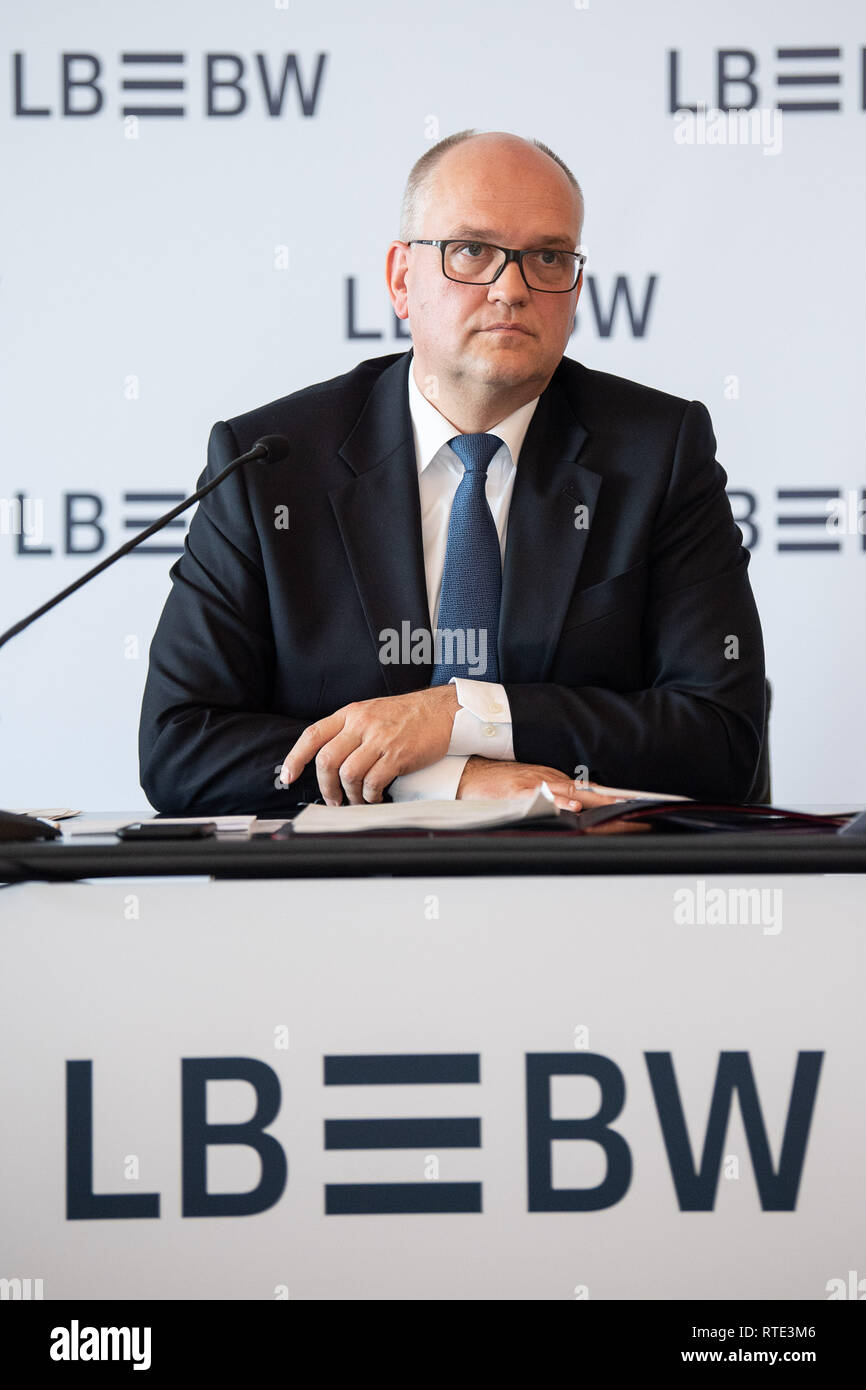 Stuttgart, Germany. 28th Feb, 2019. Rainer Neske, CEO of Landesbank Baden-Württemberg, will speak during the presentation of the preliminary business figures of Landesbank Baden-Württemberg (LBBW). According to preliminary figures, the bank earned 420 million euros after taxes in 2018. Credit: Sebastian Gollnow/dpa/Alamy Live News - Stock Image