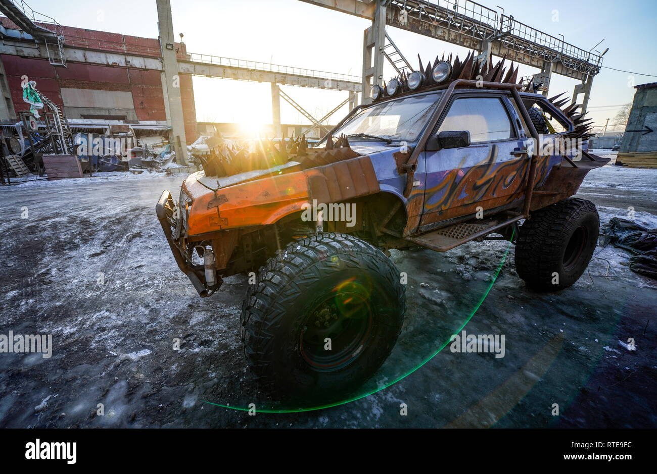 Irkutsk, Russia. 21st Feb, 2019. IRKUTSK, RUSSIA - FEBRUARY 21, 2019: A vehicle custom tuned by car mechanic Roman Nikitin (nont in picture) in the post apocalyptic style. Alyona Shatuyeva/TASS Credit: ITAR-TASS News Agency/Alamy Live News - Stock Image