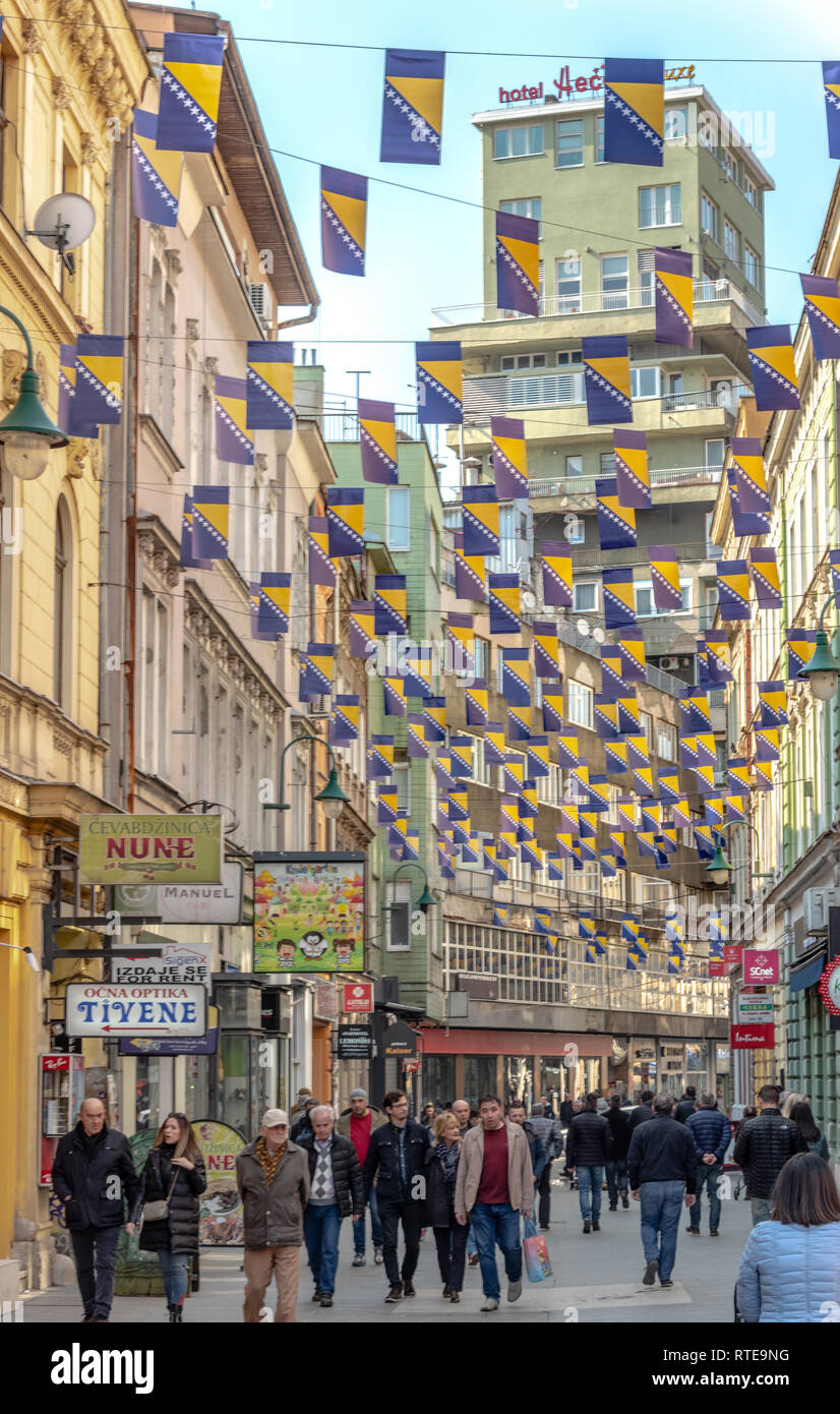 Sarajevo, Bosnia And Herzegovina. 1st March, 2019. . Thousands Bosnian flags on Ferhadija street for Independence Day Credit: Vedad Ceric/Alamy Live News - Stock Image