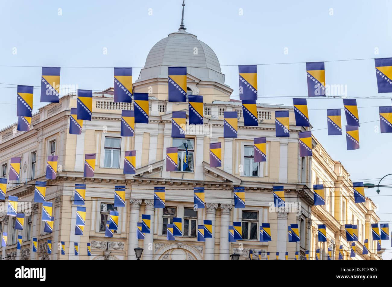 Sarajevo, Bosnia And Herzegovina. 1st March, 2019. . Thousands Bosnian flags on Marsala Tita street for Independence Day Credit: Vedad Ceric/Alamy Live News - Stock Image
