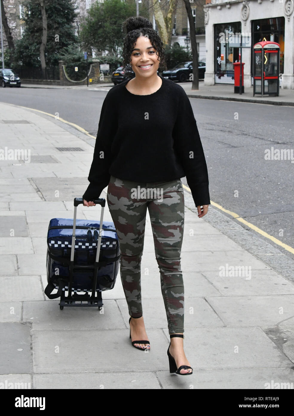 London, UK. 01st March, 2019. Leonie Elliott, (Nurse Lucille Anderson in the BBC's 'Call the Midwife') at launch of new UK standardised home delivery bag for midwives, on behalf of the maternity charity Baby Lifeline, at Sub-Zero & Wolf Showroom.  Baby Lifeline developed the new bag, along with its contents and processes, in conjunction with a leading expert clinical group. Six NHS Trusts will be trialling the bag and contents over the next few months. Credit: Nils Jorgensen/Alamy Live News - Stock Image
