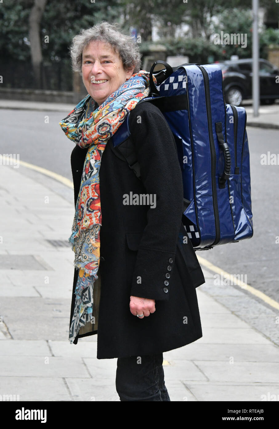 London, UK. 01st March, 2019. Linda Bassett (Nurse Phyllis Crane in the BBC's 'Call the Midwife') at launch of new UK standardised home delivery bag for midwives, on behalf of the maternity charity Baby Lifeline, at Sub-Zero & Wolf Showroom.  Baby Lifeline developed the new bag, along with its contents and processes, in conjunction with a leading expert clinical group. Six NHS Trusts will be trialling the bag and contents over the next few months. Credit: Nils Jorgensen/Alamy Live News - Stock Image