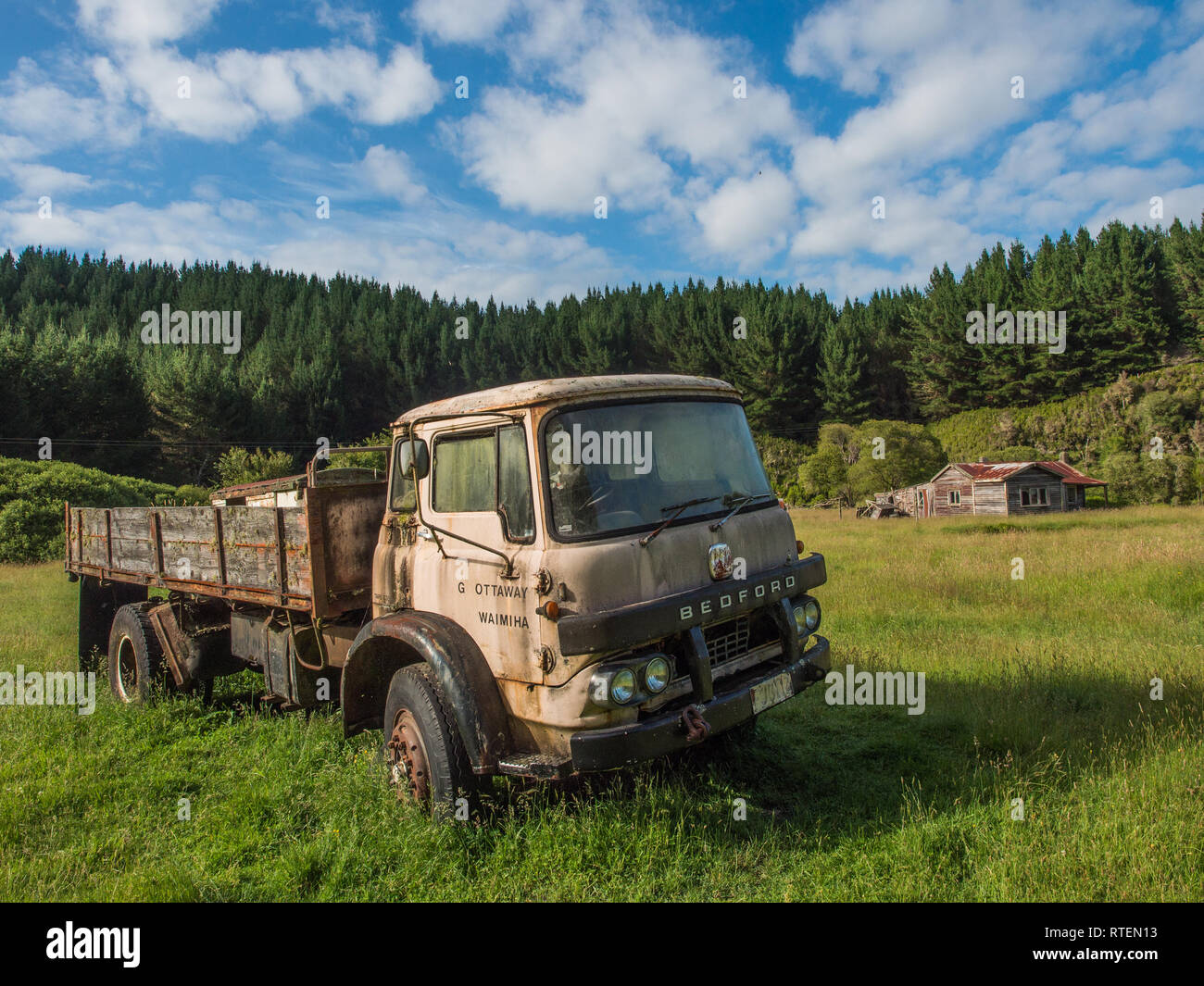 Derelict Bedford truck and abandoned house, Endeans Mill, Waimiha, Ongarue, King Country, New Zealand - Stock Image