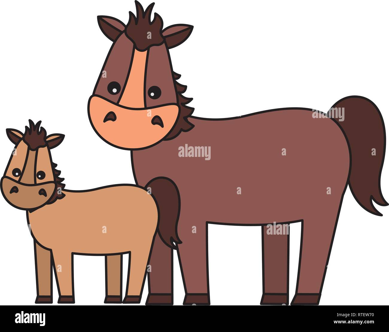 mare and foal cartoon - Stock Vector