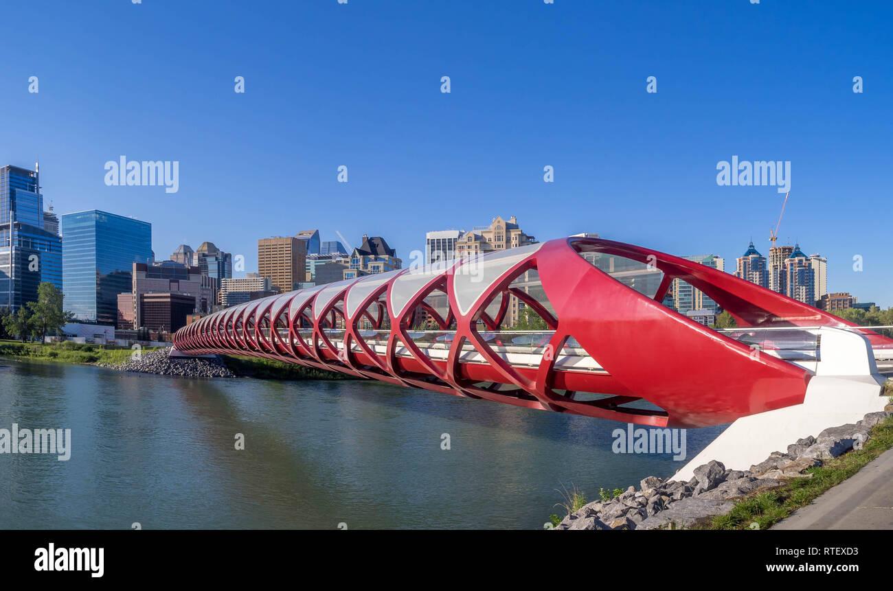 The Peace Bridge spanning the Bow River in Calgary, Alberta. The pedestrian Peace Bridge was designed by celebrity architect Santiago Calatrava. Stock Photo