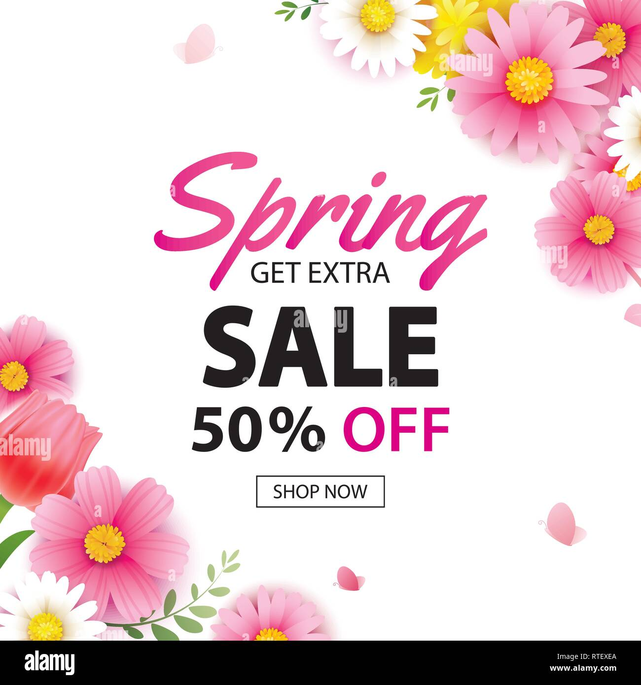 Spring Sale Square Banner With Blooming Flowers Background Template