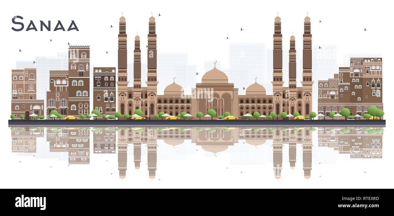 Sanaa Yemen City Skyline with Color Buildings and Reflections Isolated on White Background. Vector Illustration. - Stock Image