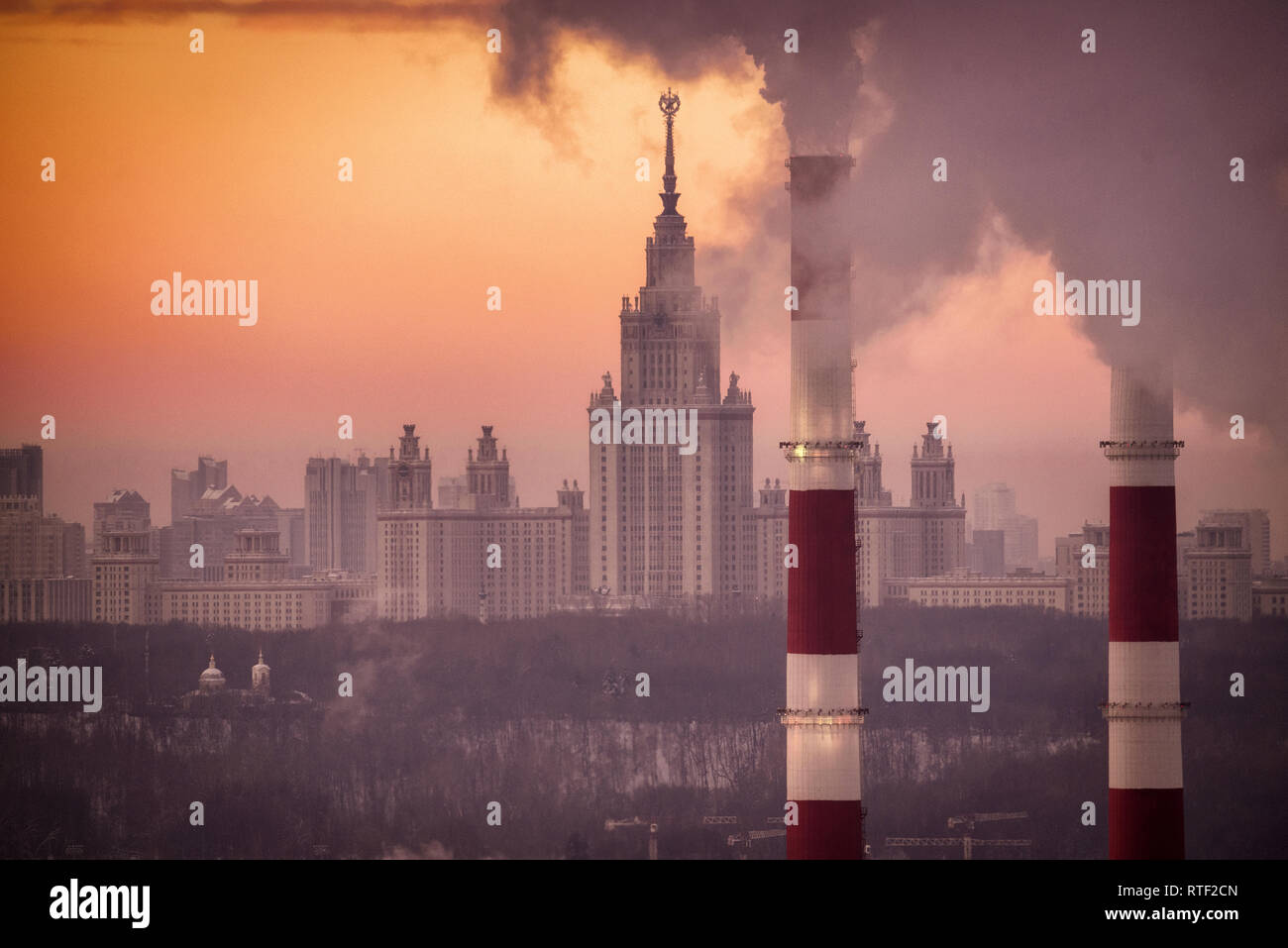 Moscow, Russia - January 9, 2019: Main building of Moscow State University, one of seven Stalinist style skyscrapers (Главное здание МГУ) - Stock Image