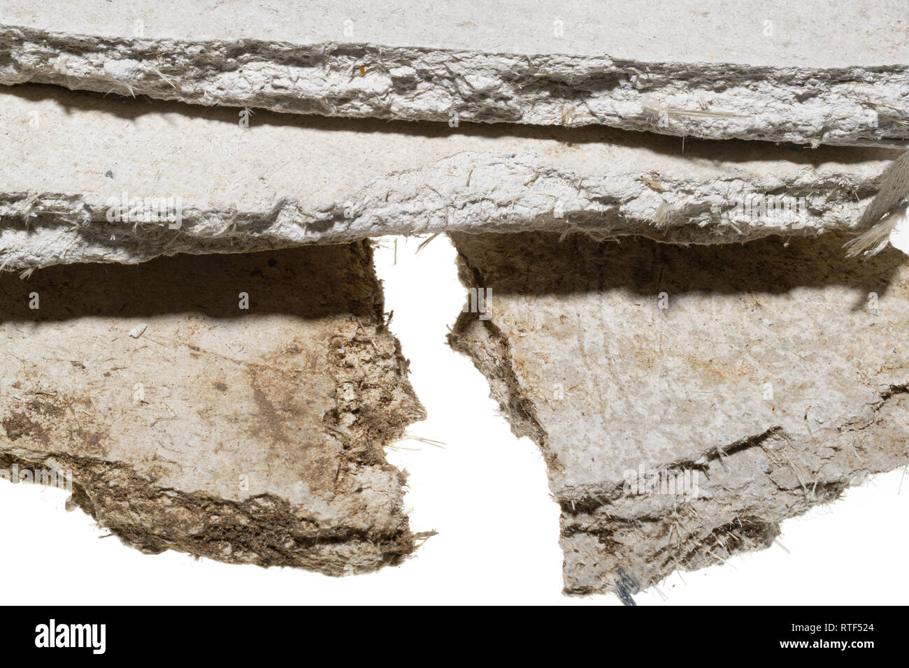 Asbestos sheets. Old building material with dangerous fibres. Low grade risk. Asbestos cement board - Stock Image