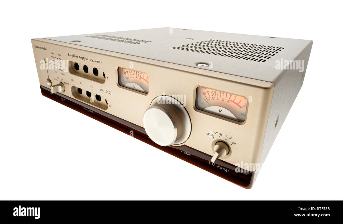Audio Technica AT-HA 5050H headphone amplifier. - Stock Image