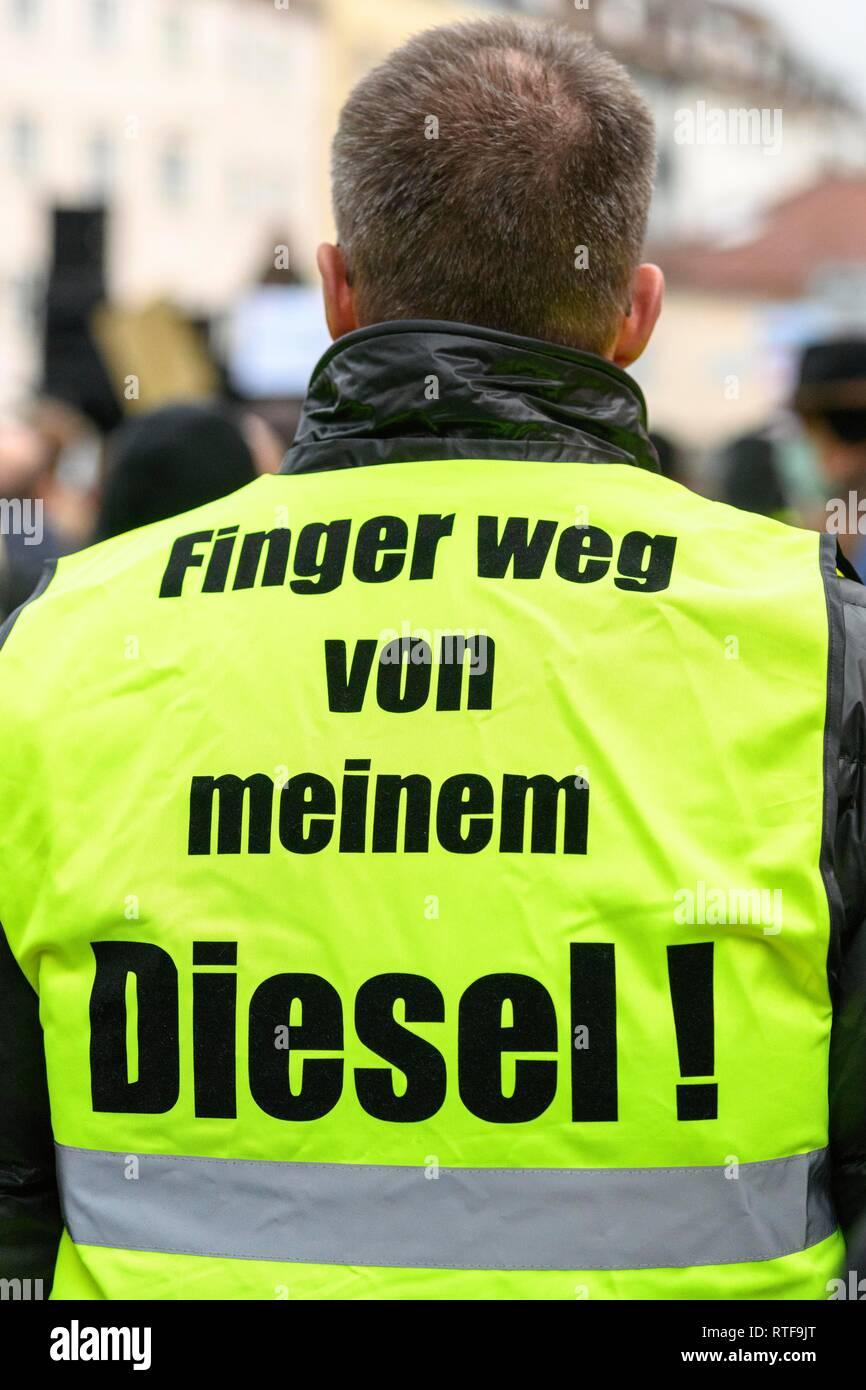 Demonstrator with yellow vest with inscription, demonstration against the ban on diesel driving, Stuttgart, Baden-Württemberg - Stock Image