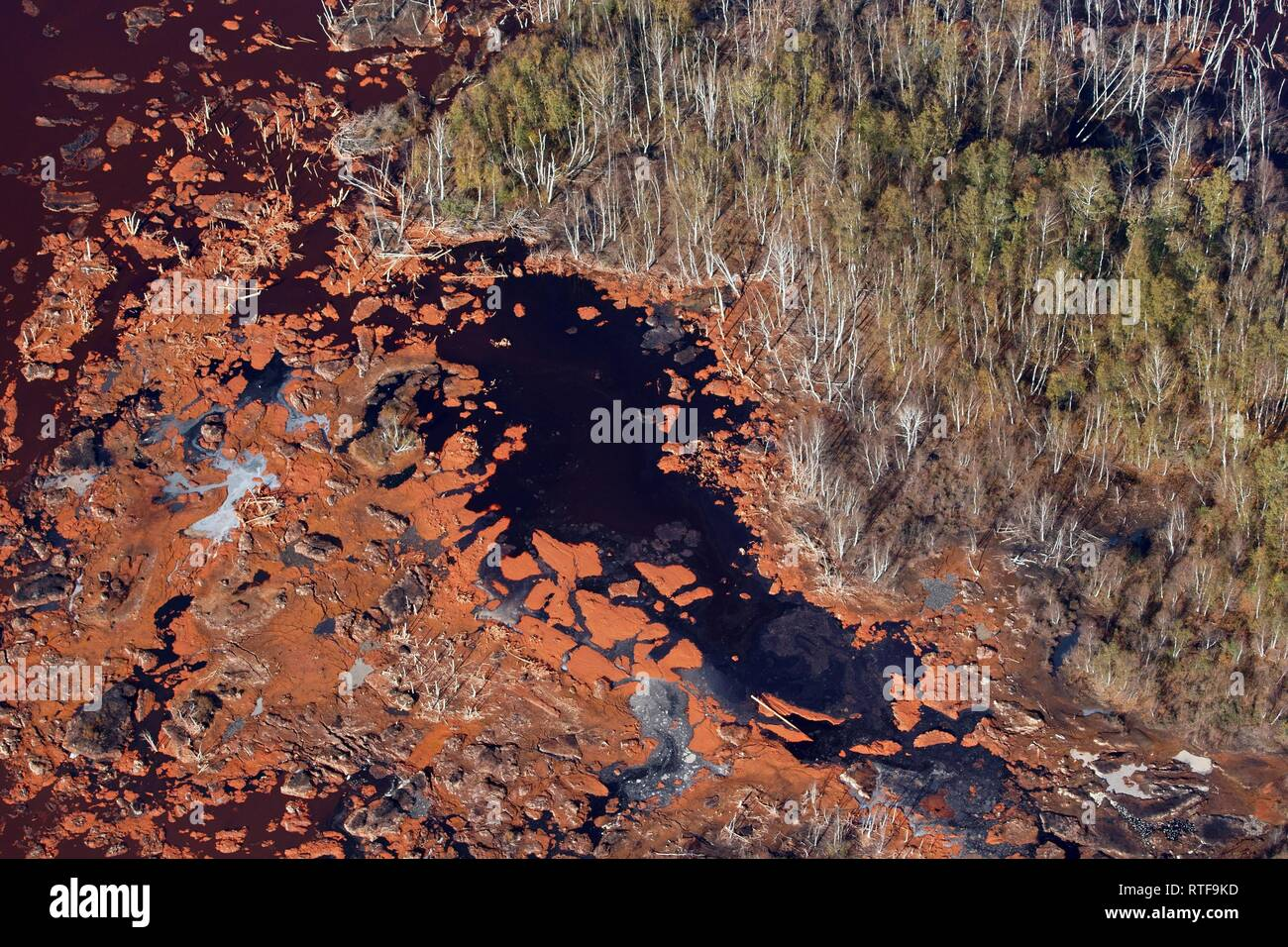 Aerial view, red sludge landfill, Stade, Lower Saxony, Germany - Stock Image