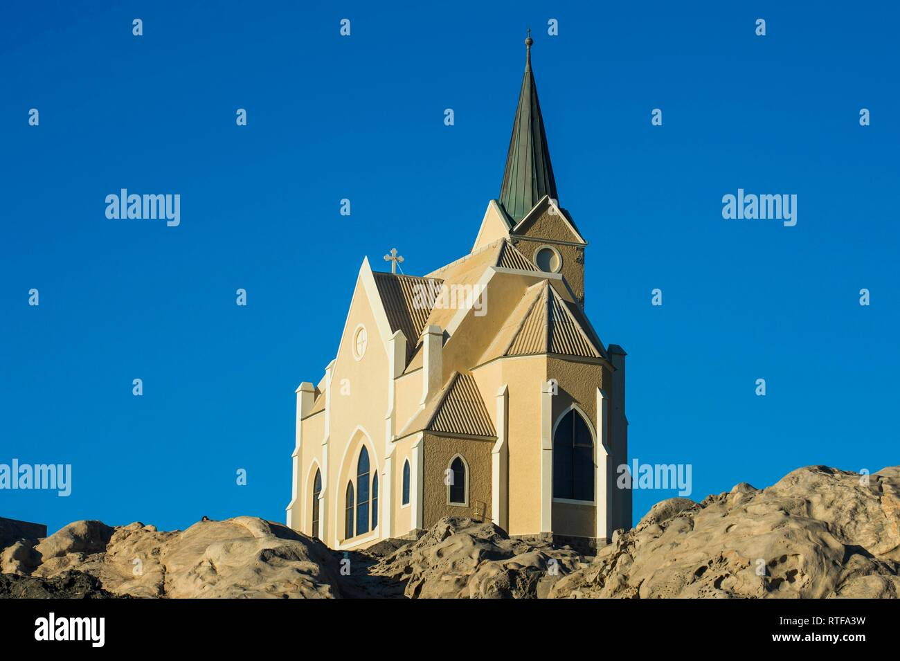 Colonial rock church, Lüderitz, Namibia - Stock Image