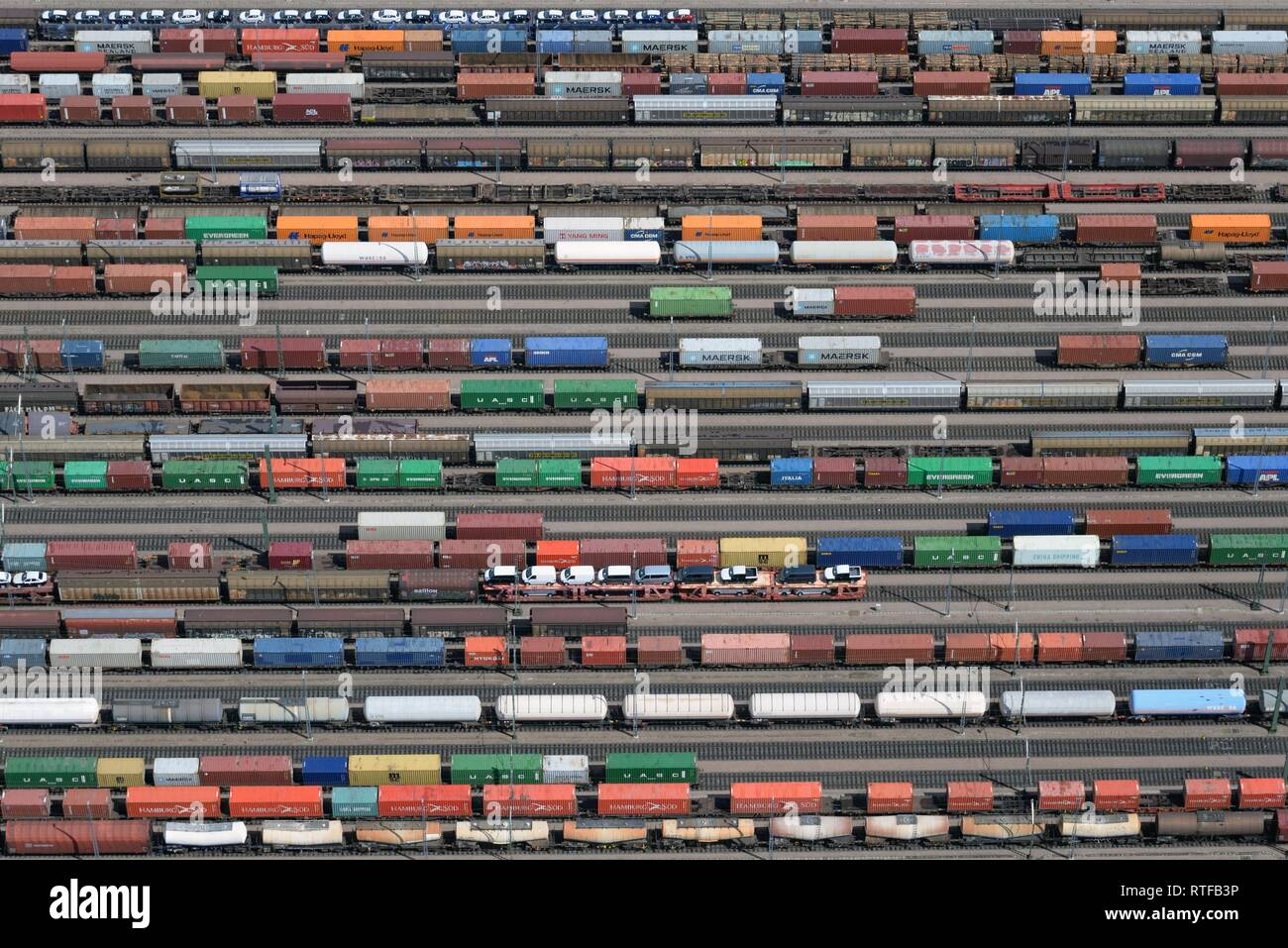 Aerial view, freight trains, waggons at Maschen marshalling yard, Lower Saxony, Germany - Stock Image