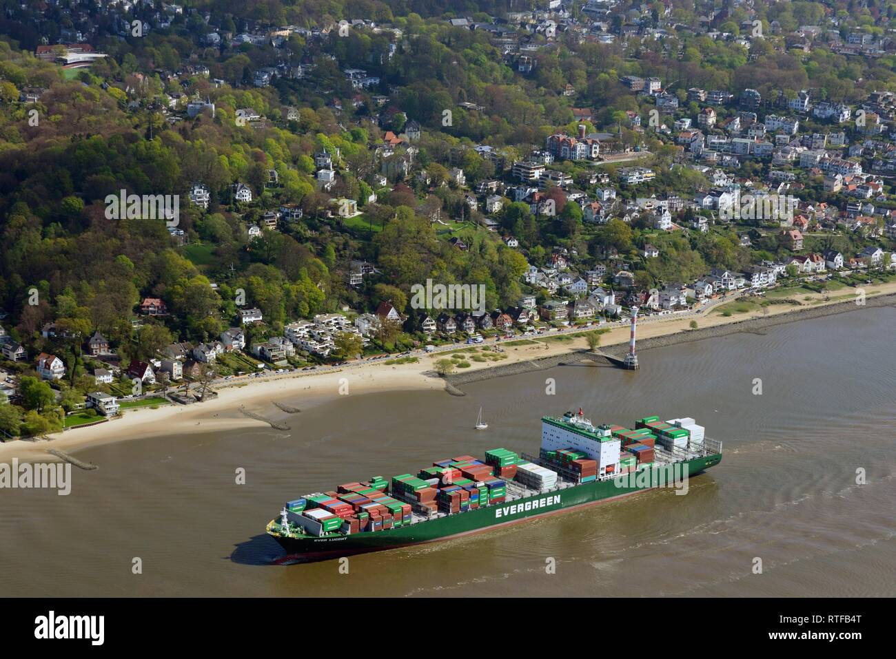 Aerial view, Container ship Ever Lucent with freight on the Elbe, Hamburg, Germany - Stock Image