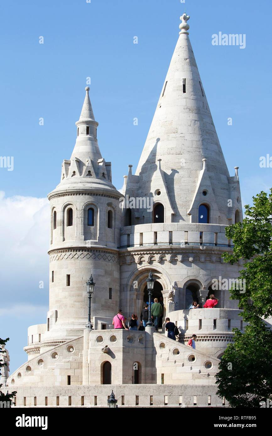 Fisherman's Bastion at castle hill, Castle district, Buda district, Budapest, Hungary - Stock Image