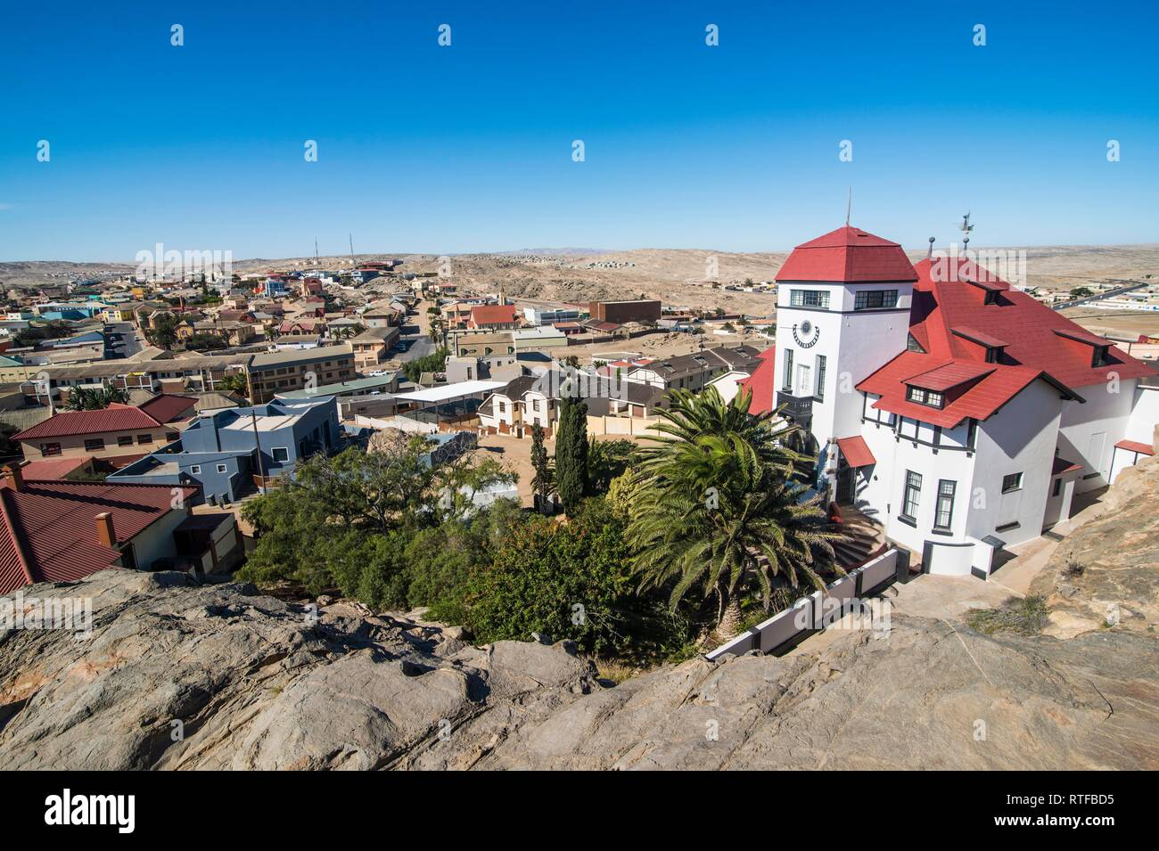 Overlook over Lüderitz, Namibia - Stock Image
