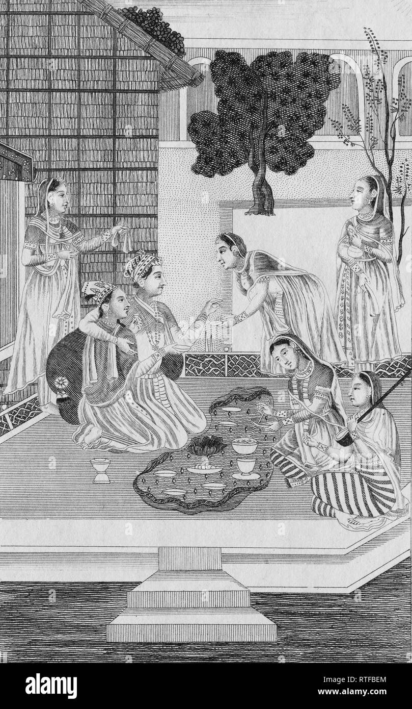 Noble Brahmin couple and their servants, copperplate engraving from Atlas Historique by Henri Abraham and Zacharie Chatelain - Stock Image