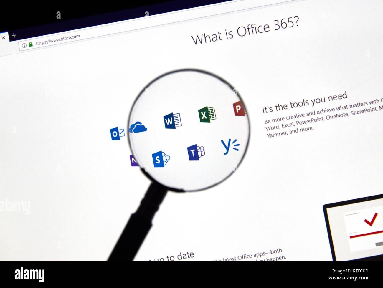 MONTREAL, CANADA - FEBRUARY 28, 2019: MIcrosoft Office 365 icons on
