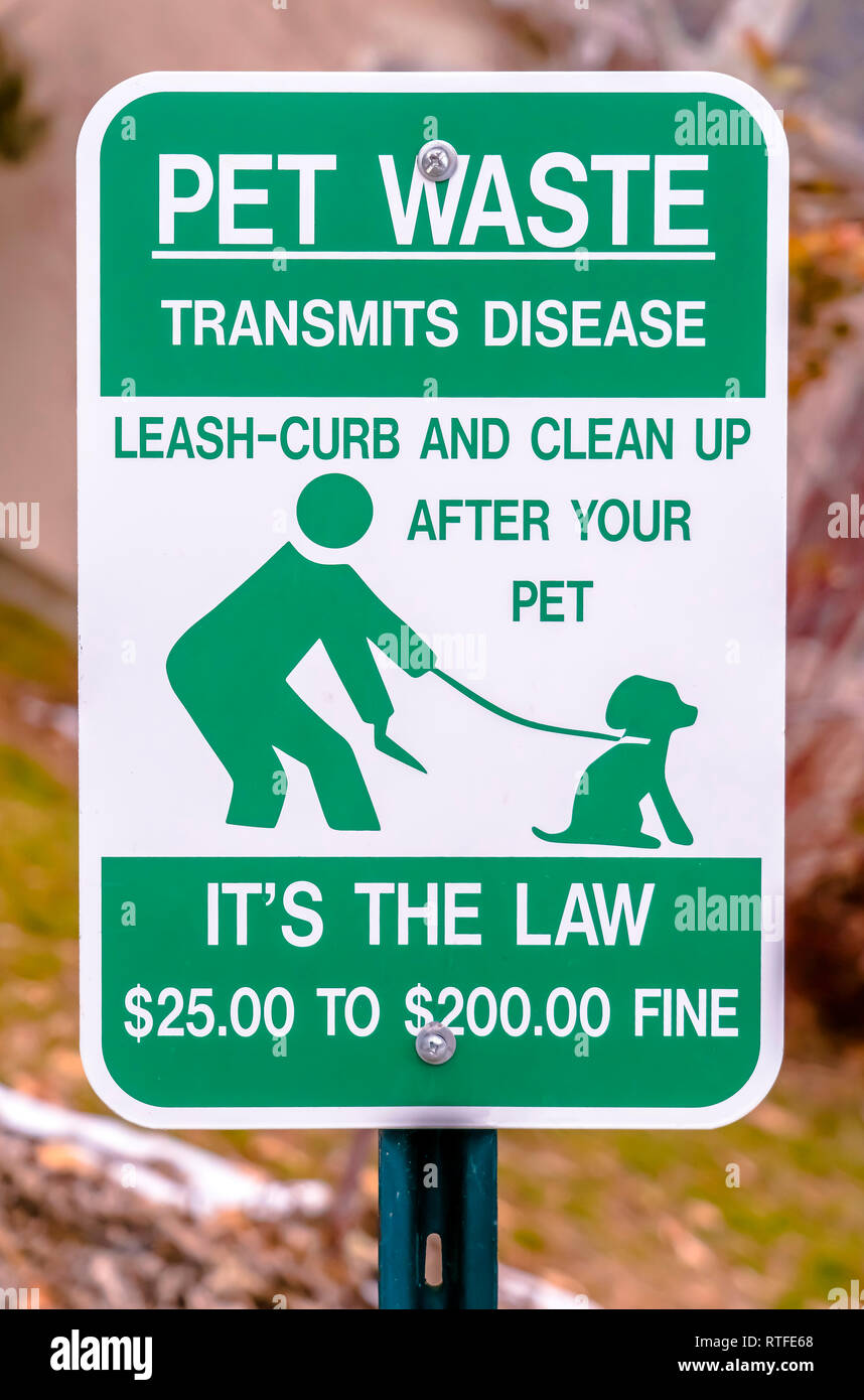 Pet Waste Transmits Disease sign post. Pet Waste Transmits Disease sign instructing pet owners to leash-curb and clean up after their pets. Anyone who - Stock Image