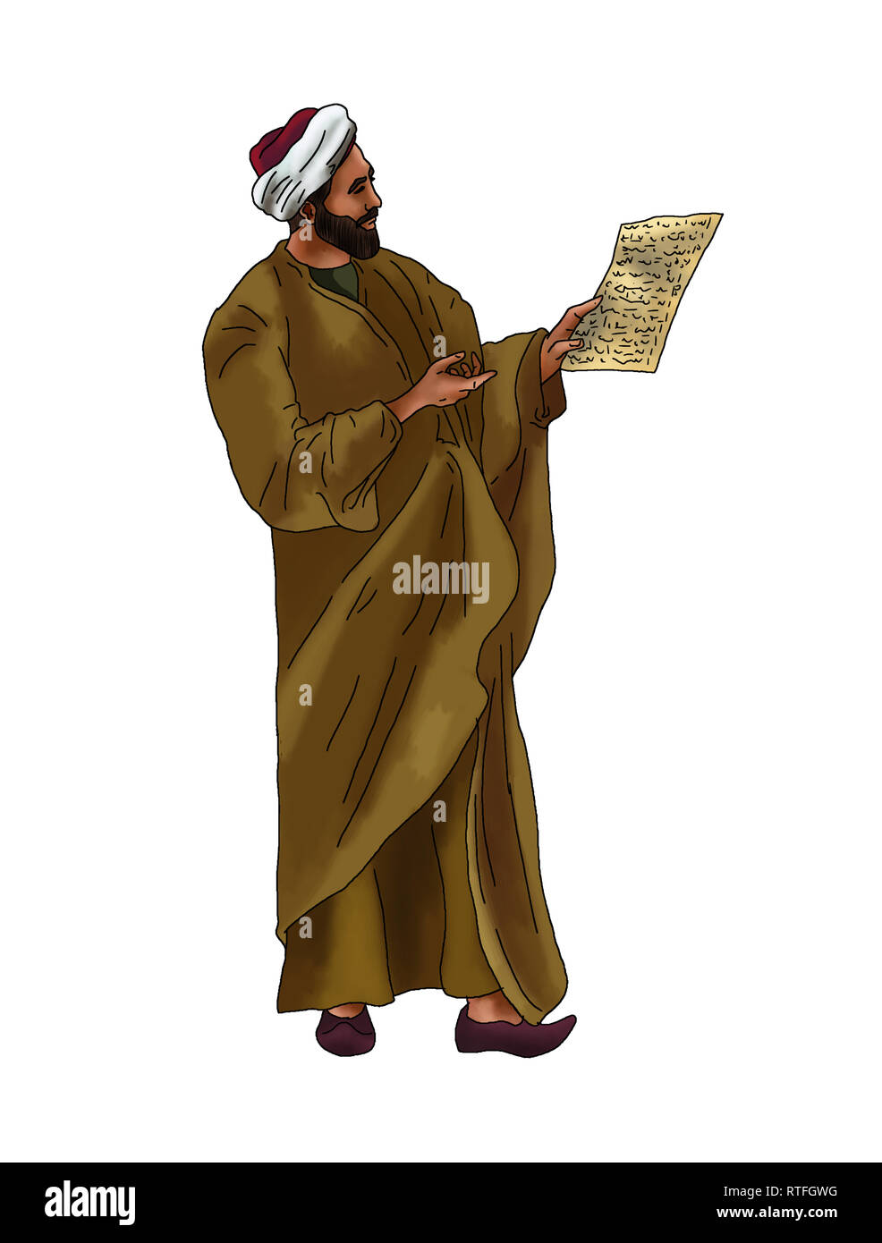 Portrait people from muslim history world - Stock Image