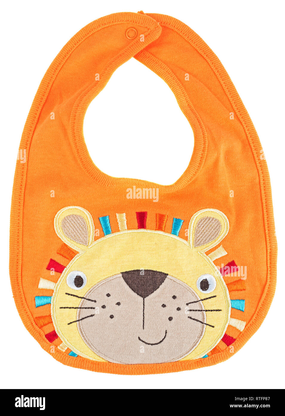 Orange baby bib with lion isolated on a white background - Stock Image