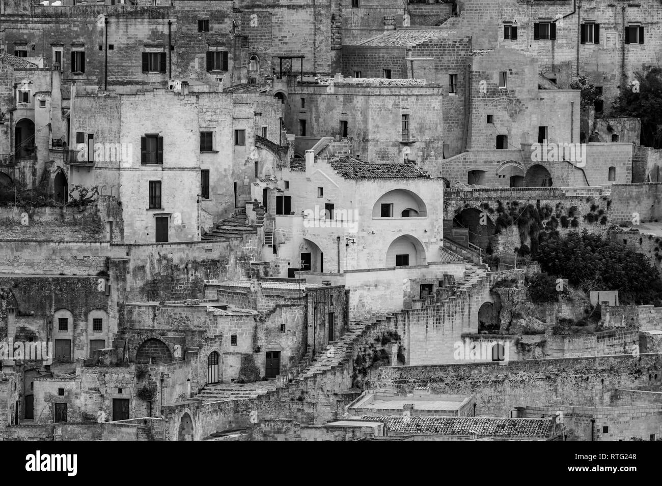 Amazing close up black and white view of ancient town of matera the sassi di matera basilicata southern italy architectural details and buildings