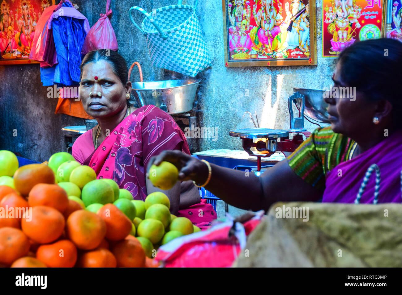 Fearsome Indian Lady, Goubert Market, Pondicherry, Puducherry, Tamil Nadu, India - Stock Image