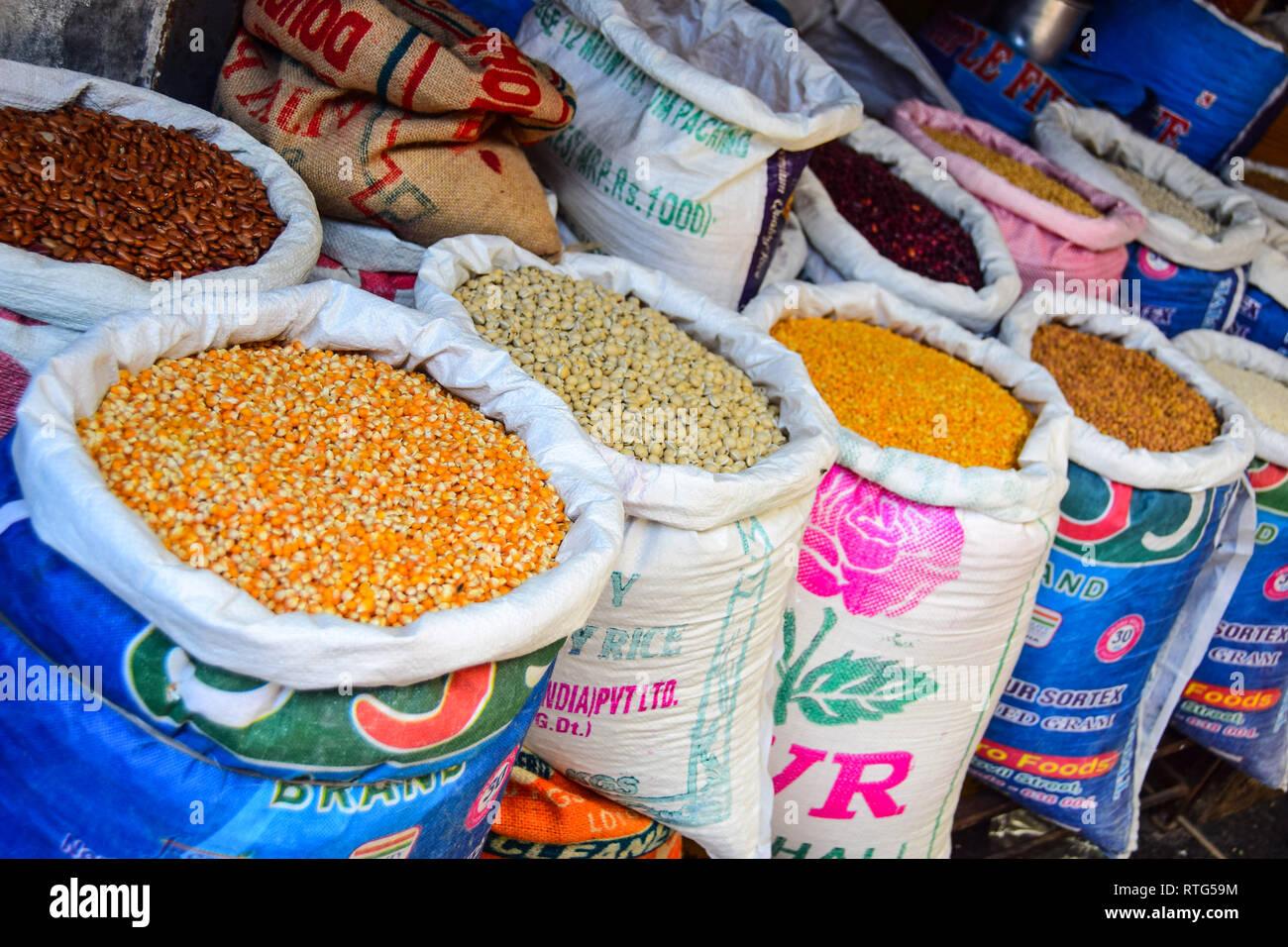 Sacks of Rice Pulses, Goubert Market, Pondicherry, Puducherry, Tamil Nadu, India - Stock Image