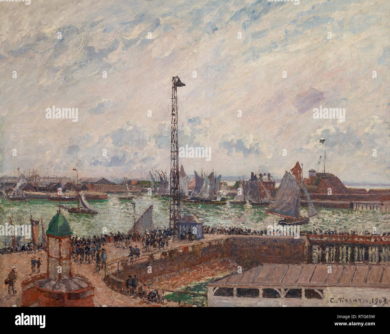 The Pilots' Jetty, Le Havre, Morning, Cloudy and Misty Weather, Camille Pissarro, 1903, - Stock Image
