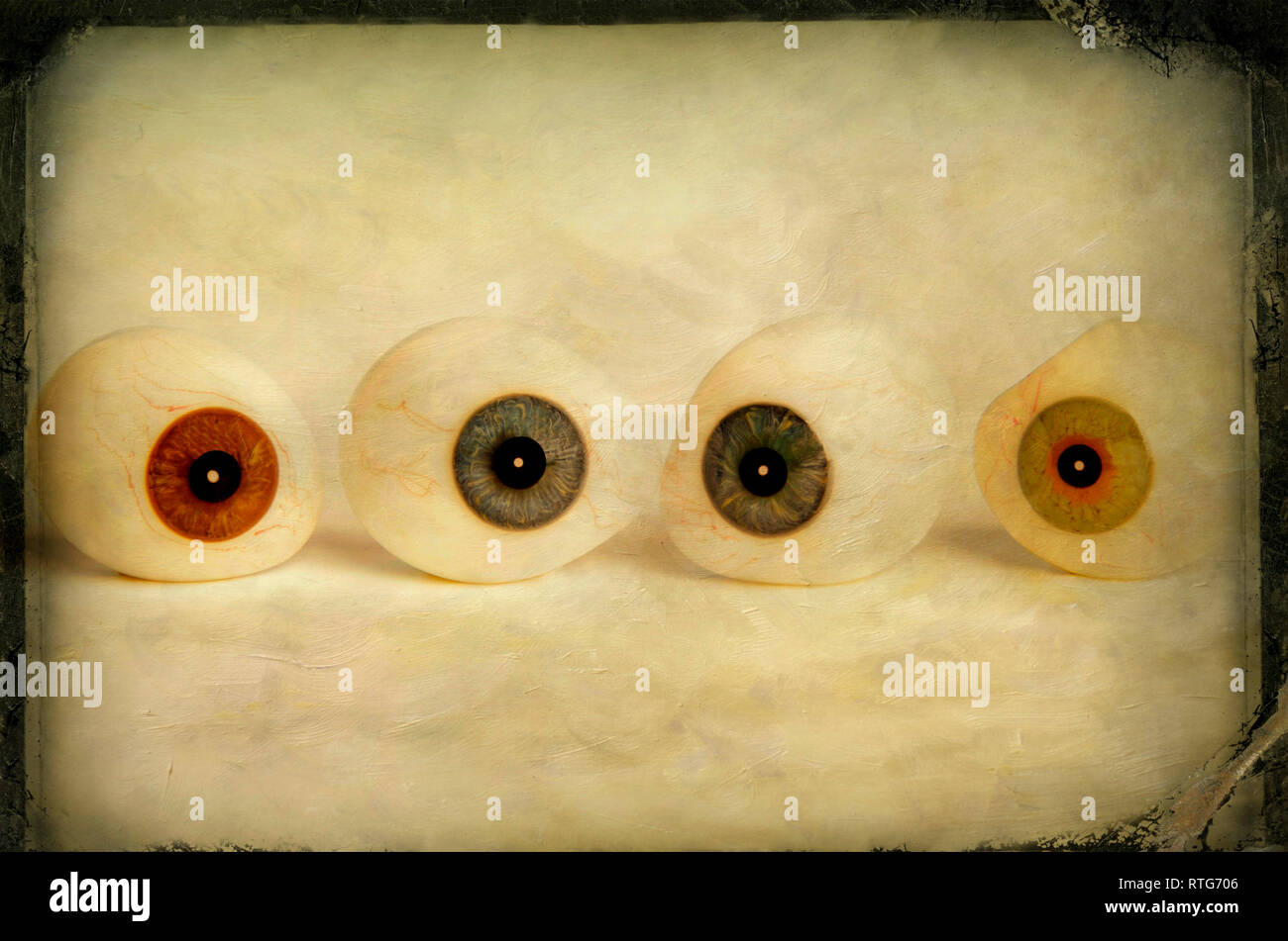 Artificial eyeballs, cut out - Stock Image