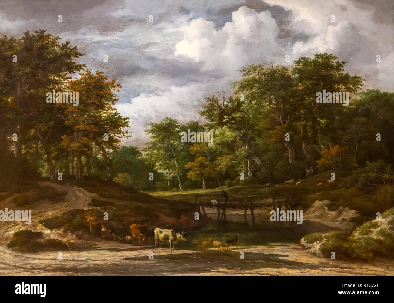 A Woodland Landscape, Jacob van Ruisdael, 1660's, Stock Photo