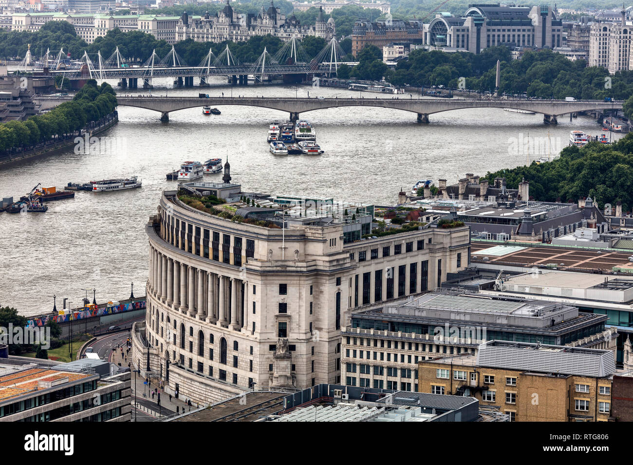 Unilever house (1933), Unilever global headquarters head office, Victoria embankment, Cityscape from the gallery of St Paul's Cathedral, London, Engla - Stock Image