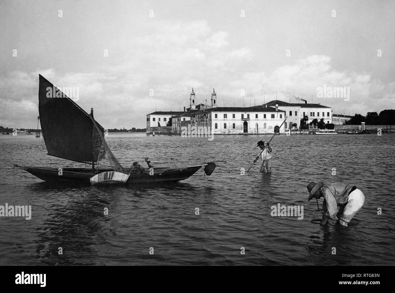 italy, veneto, isola di san servolo, 1910-20 Stock Photo