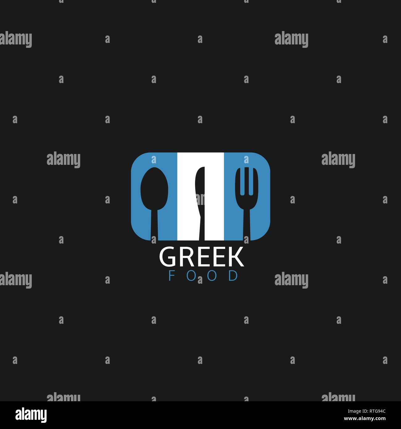 Greek food icon. Greek flag symbol Spoon fork and knife icons - Stock Vector