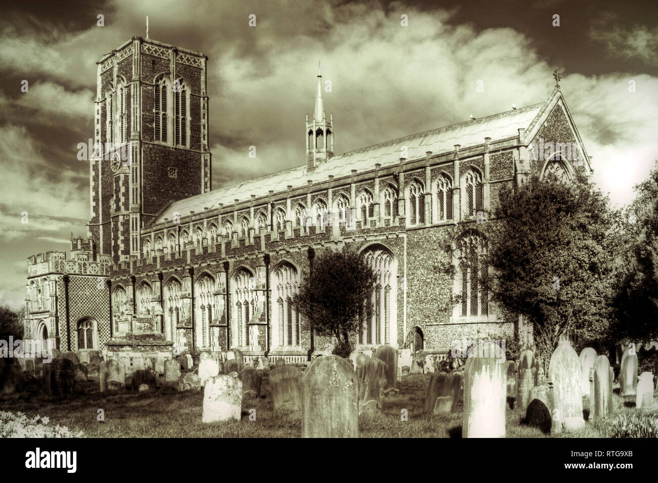 The parish church of Southwold is dedicated to St Edmund. It is considered to be one of Suffolk's finest.[2] The church lies under one continuous roof - Stock Image