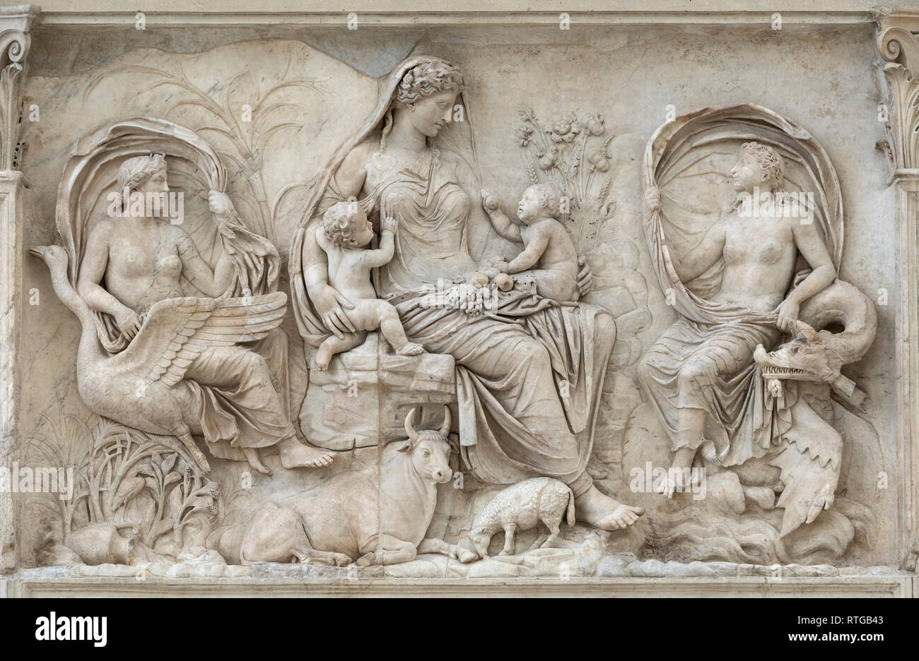 Rome. Italy. The Tellus (or Pax) relief panel on the east wall (back) of the Ara Pacis Augustae, 13-9 BCE, Ara Pacis Museum. - Stock Image