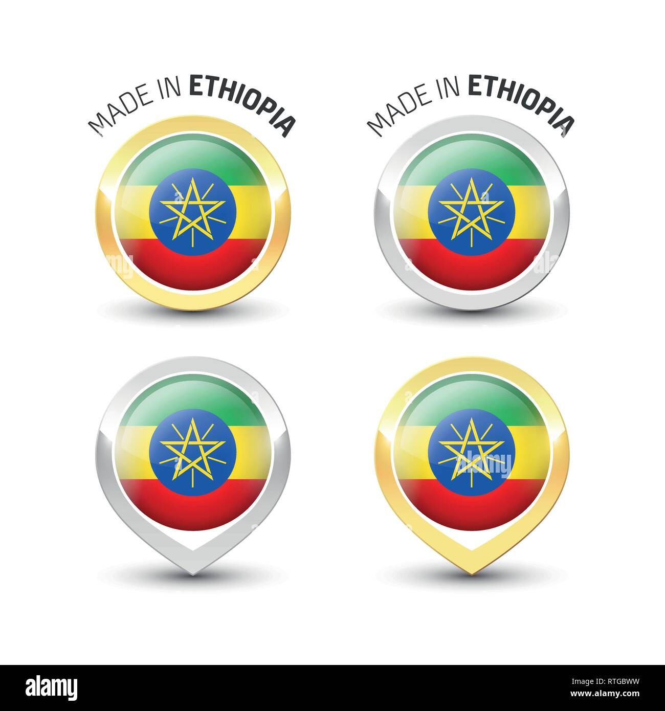Made in Ethiopia - Guarantee label with the Ethiopian flag inside round gold and silver icons. - Stock Vector